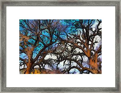 Framed Print featuring the photograph Winter Trees At Fort Tejon Lebec California Abstract by Floyd Snyder