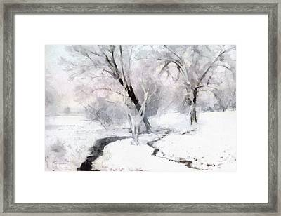 Framed Print featuring the digital art Winter Trees by Francesa Miller