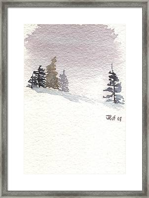 Winter Trees With Purple Sky Framed Print by Jan Anderson