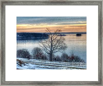 Winter Twilight At Fort Allen Park Framed Print