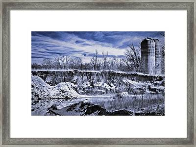 Winter Twin Silos Framed Print