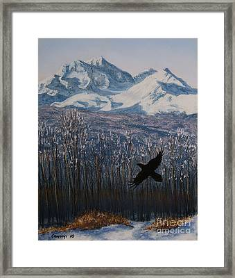 Framed Print featuring the painting Winter Valley Raven by Stanza Widen