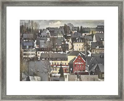 Winter Village With Red House Framed Print