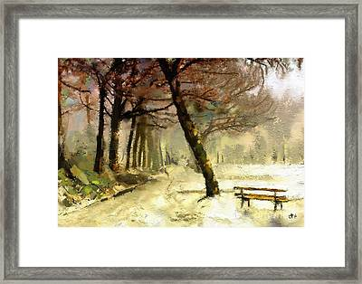 Winter Walk Framed Print by Carrie Joy Byrnes