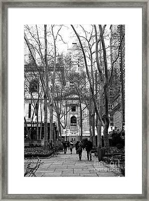 Winter Walk In Bryant Park Framed Print