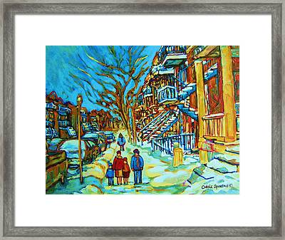 Winter  Walk In The City Framed Print by Carole Spandau