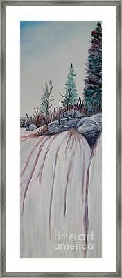 Framed Print featuring the painting Winter Waterfall by Marilyn  McNish