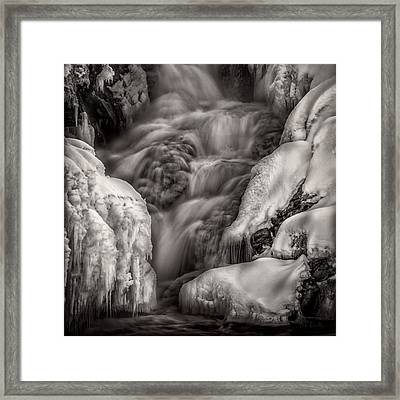 Winter Waterfall Snow And Ice Framed Print by Bob Orsillo