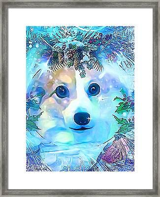 Framed Print featuring the digital art Winter Welsh Corgi by Kathy Kelly