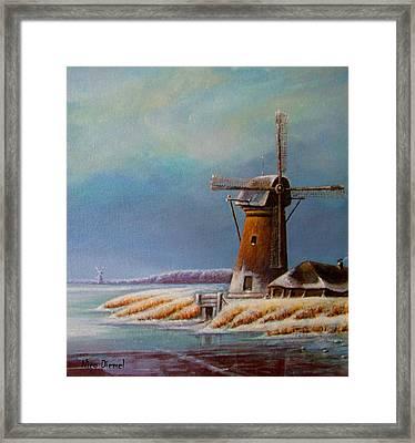 Winter Windmill Framed Print by Nick Diemel