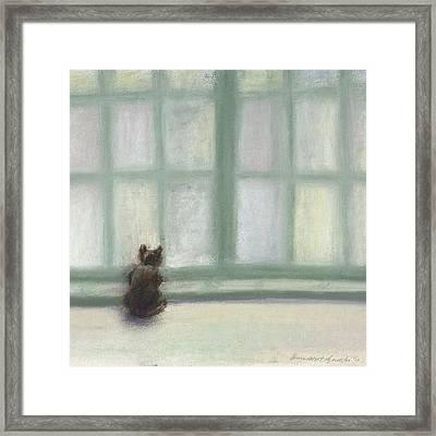 Winter Window Framed Print by Bernadette Kazmarski