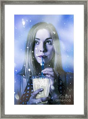 Winter Woman Drinking Ice Cold Drink Framed Print by Jorgo Photography - Wall Art Gallery