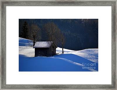 Winter Wonderland In Switzerland - The Barn In The Snow Framed Print