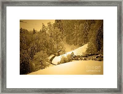 Winter Wonderland In Switzerland - Up The Hills Framed Print