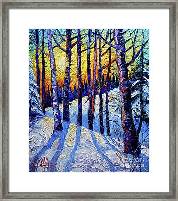 Winter Woodland Sunset Modern Impressionism Palette Knife Oil Painting Framed Print