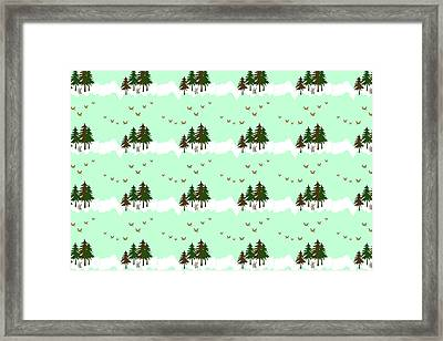 Framed Print featuring the mixed media Winter Woodlands Bird Pattern by Christina Rollo