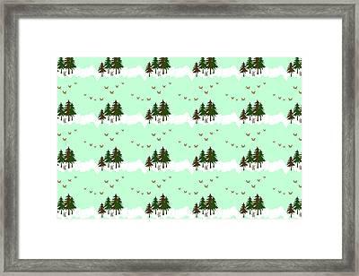 Winter Woodlands Bird Pattern Framed Print