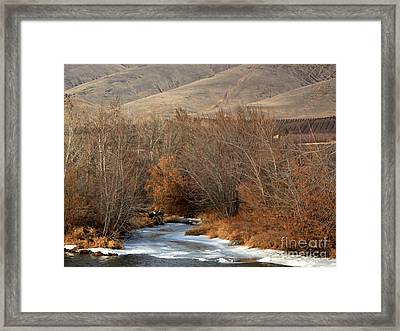 Winter Yakima River With Hills And Orchard Framed Print by Carol Groenen