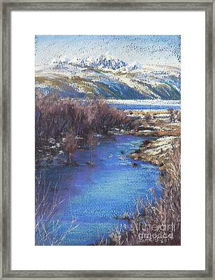 Winter's Edge, Flat Creek Jackson Framed Print by Louise Green