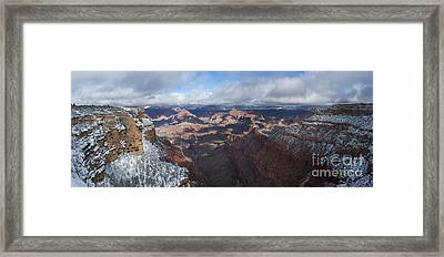 Winter's Grasp At The Grand Canyon Framed Print by Sandra Bronstein