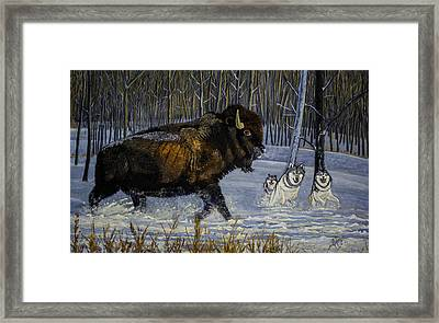 Winter's Hunt  48x30x1 Inch Oil On Gallery Canvas Framed Print by Manuel Lopez