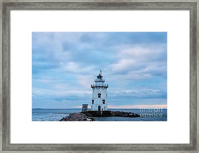 Winter's Morn At Saybrook Breakwater - New England Lighthouse Framed Print by JG Coleman