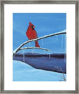 Framed Print featuring the painting Winter's Red by Susan DeLain