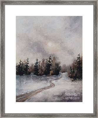 Framed Print featuring the painting Winters Sunset by Brenda Thour