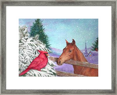 Winterscape With Horse And Cardinal Framed Print