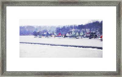 Wintertime At The Fairmount Dam And Boathouse Row Framed Print by Bill Cannon