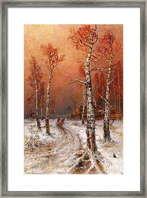 Wintery Atmosphere With Rooks Framed Print by Julius von Klever