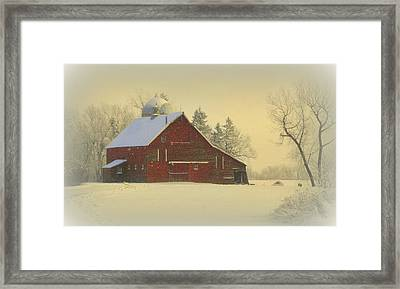 Wintery Barn Framed Print by Julie Lueders