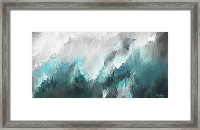Wintery Mountain- Turquoise And Gray Modern Artwork Framed Print