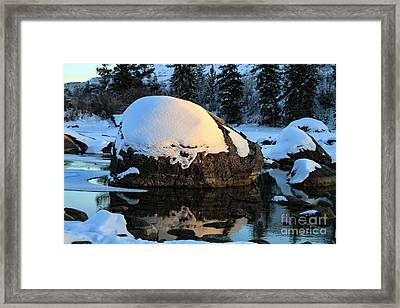 Framed Print featuring the photograph Wintery Rock by Edward R Wisell