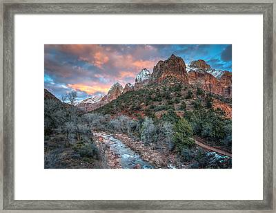 Wintery Sunset At Zion National Park Framed Print by James Udall
