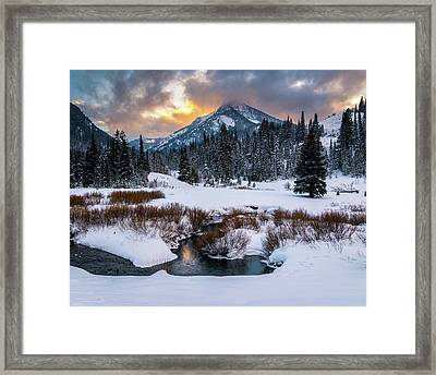 Wintery Wasatch Sunset Framed Print by James Udall