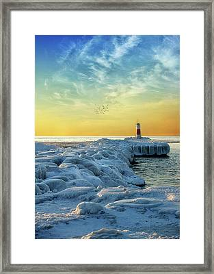 Wintry River Channel Framed Print