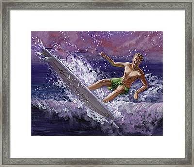 Wipeout At The Wedge Framed Print by Hank Wilhite