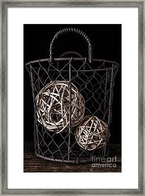 Wire Basket And Balls Still Life Framed Print by Edward Fielding