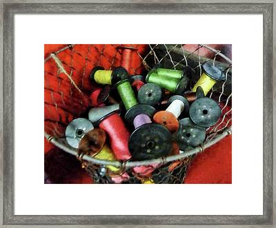 Wire Basket With Thread Framed Print by Susan Savad
