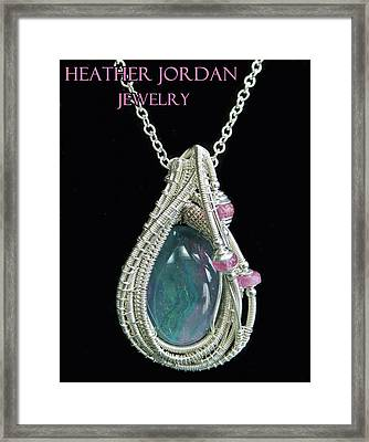 Wire-wrapped Australian Opal Pendant In Sterling Silver With Pink Sapphires Abopss2 Framed Print