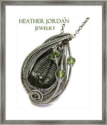 Wire-wrapped Trilobite Fossil Pendant In Antiqued Sterling Silver With Peridot Trilss9 Framed Print