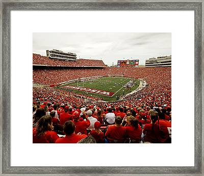 Wisconsin Badgers Play In Camp Randall Stadium Framed Print by Relpay Photos