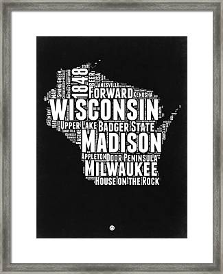 Wisconsin Black And White Word Cloud Map Framed Print by Naxart Studio