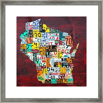 Wisconsin Counties Vintage Recycled License Plate Map Art On Red Barn Wood Framed Print by Design Turnpike