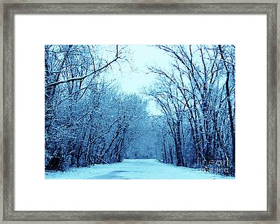 Wisconsin Frosty Road In Winter Ice Framed Print