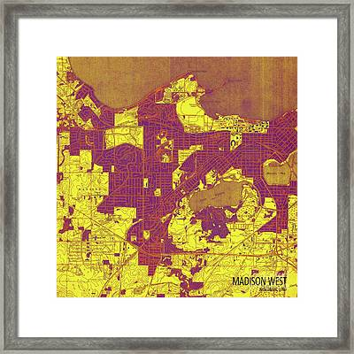 Wisconsin, Madison West Yellow, Purple And Brown Old Map, Year 1959 Framed Print by Pablo Franchi