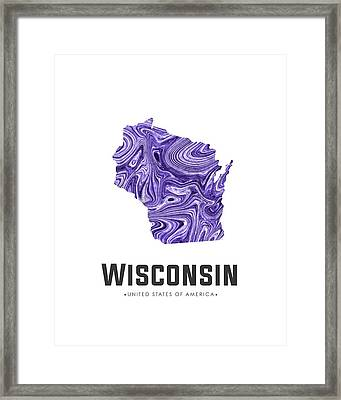 Wisconsin Map Art Abstract In Violet Framed Print