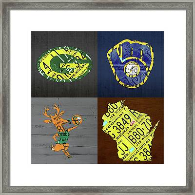 Wisconsin Sports Team License Plate Art Milwaukee Green Bay Plus Map Brewers Bucks Packers Framed Print by Design Turnpike