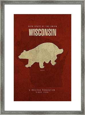 Wisconsin State Facts Minimalist Movie Poster Art Framed Print